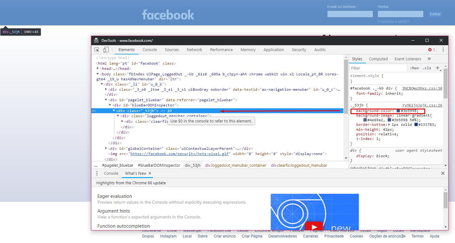 inspecionar elementos no facebook