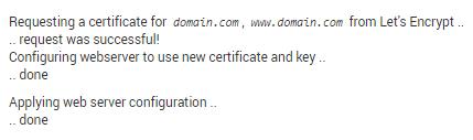 Mensagem de confirmação de instalação de ssl no vps