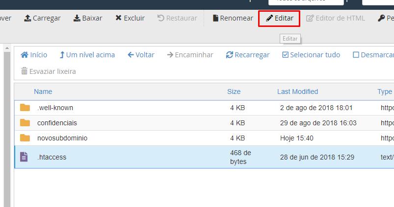 localizar opção editar no .htaccess