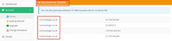 localizar servidor de nome no provedor de hospedagem