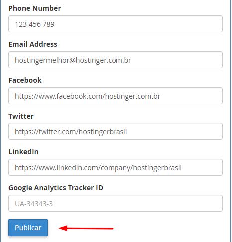 personalizar e publicar site no cpanel