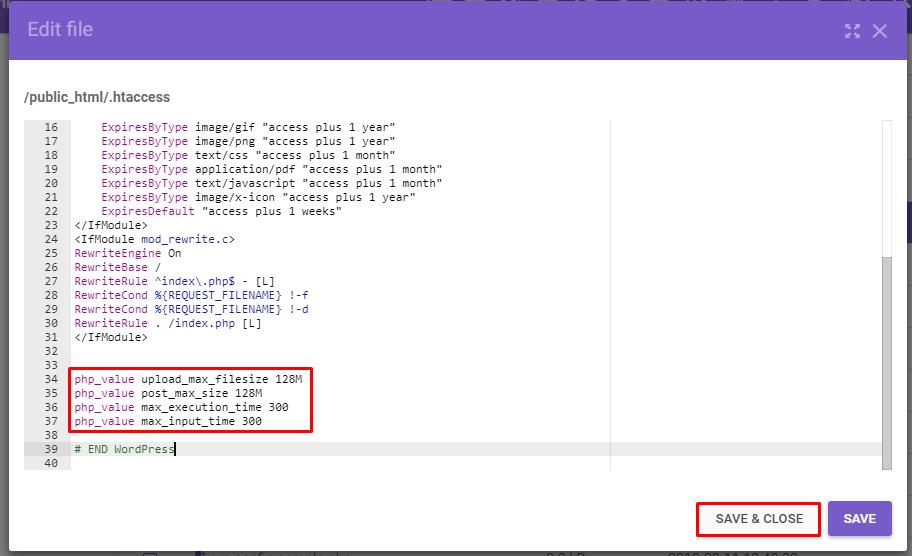 salvar alterações do limite de aupload de arquivos do wordpress