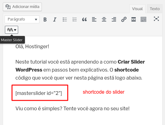 inserir shortcode do slider em página ou post WordPress
