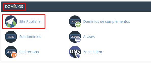 localizar site publisher na seção domínios do cpanel