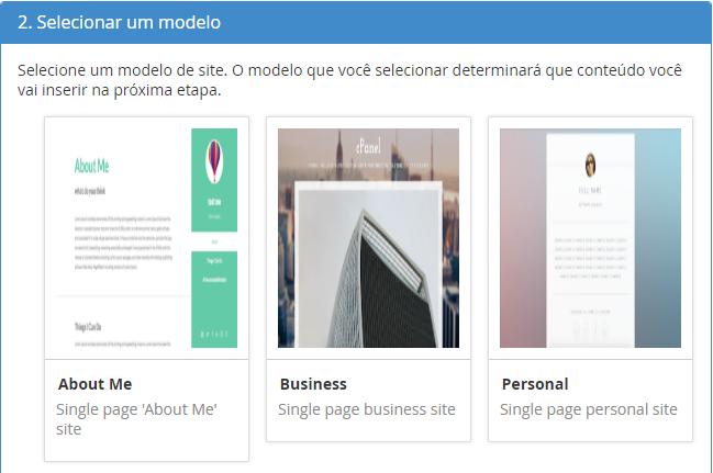 escolher template do site criado com site publisher