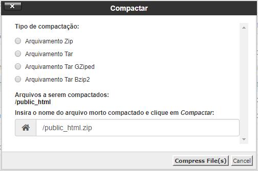 tipos de compactação de arquivos pelo gerenciador de arquivos cpanel