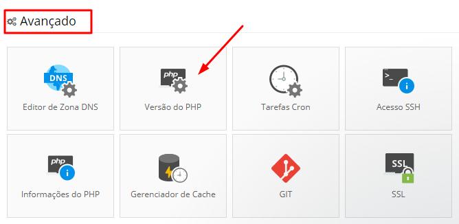 mudar versão do php pelo painel de hospedagem