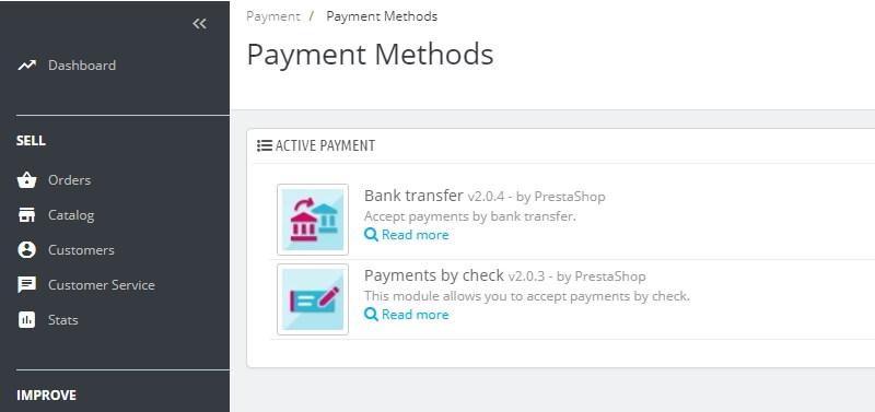 adicionar métodos de pagamento do prestashop