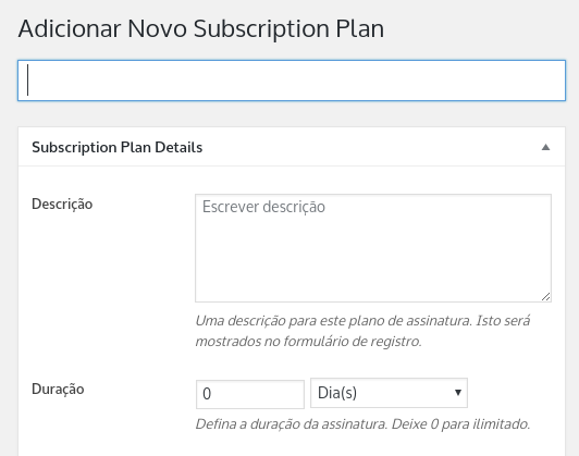 adicionar novo plano de assinatura no wordpress