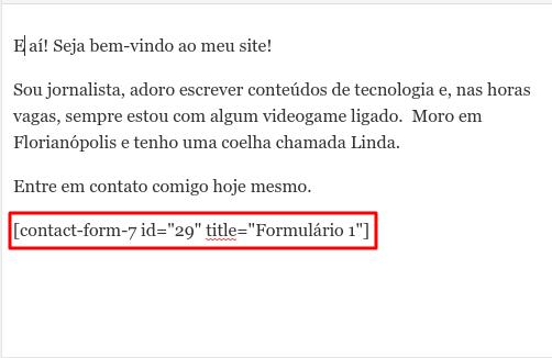 shortcode de formulário de contato inserido numa página WordPress