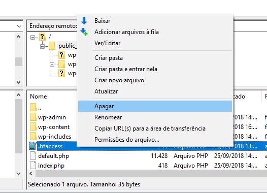 restaurar arquivo htaccess padrao