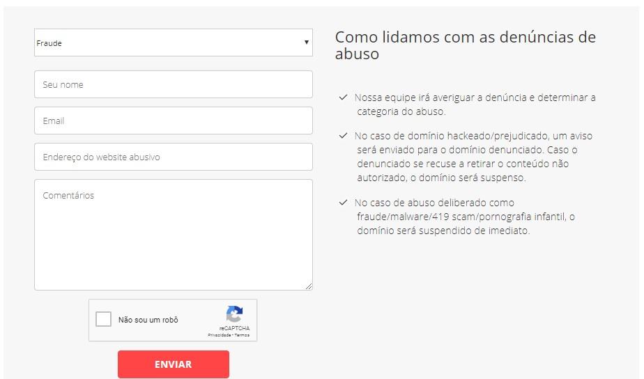 página de suporte para composição da estrutura de um site