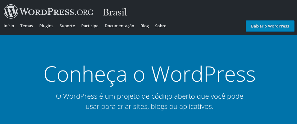 página inicial do wordpress