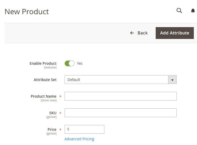 adicionar novo produto na plataforma Magento
