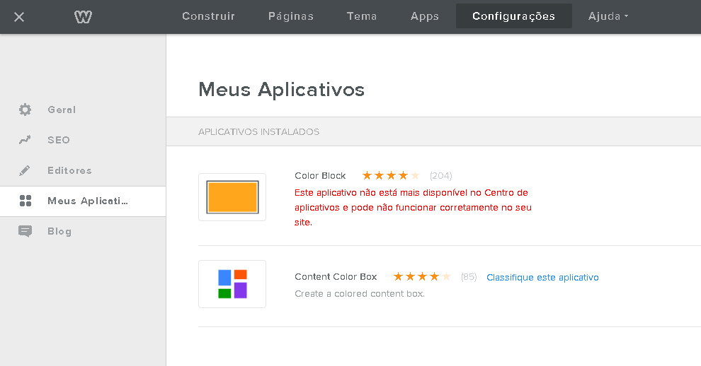 adicionar aplicativos no Weebly