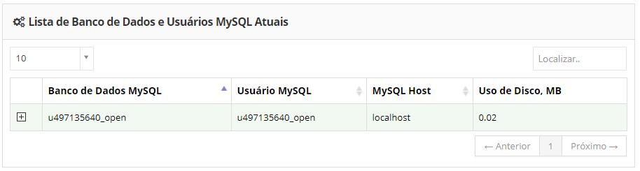 banco de dados mysql criado na conta de hospedagem de sites