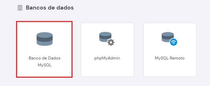 opção de banco de dados no hpanel da hostinger