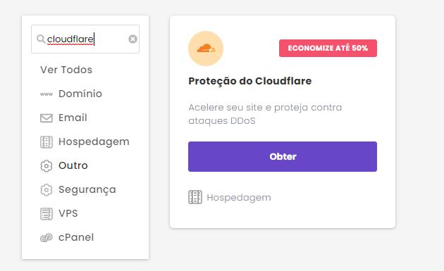 pedido de cloudflare na Hostinger