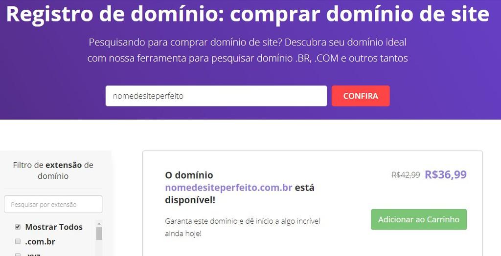 exemplo de como comprar domínio de site