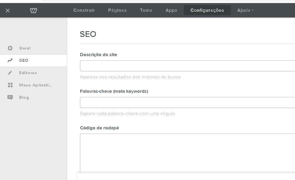 configurações avançadas no Weebly