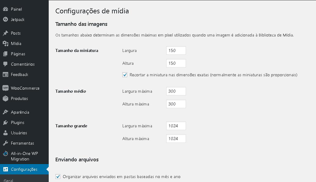 configurações de mídia no WordPress