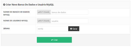 criar novo banco de dados e usuário mysql