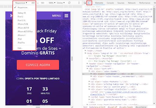 ferramenta de desenvolvimento do Chrome