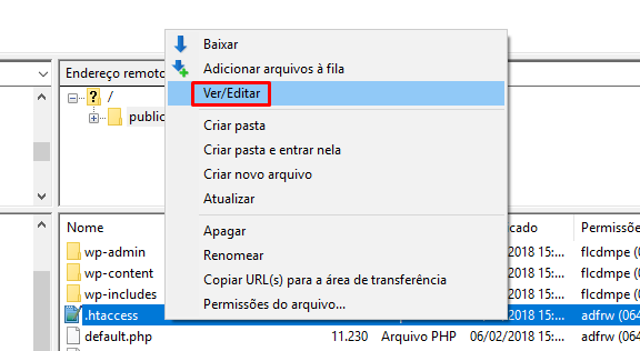 editar arquivo htaccess