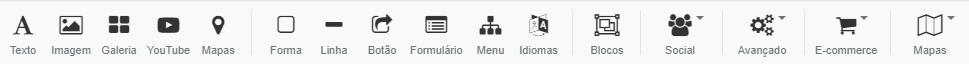 menu superior de funções principais do construtor de sites da hostinger