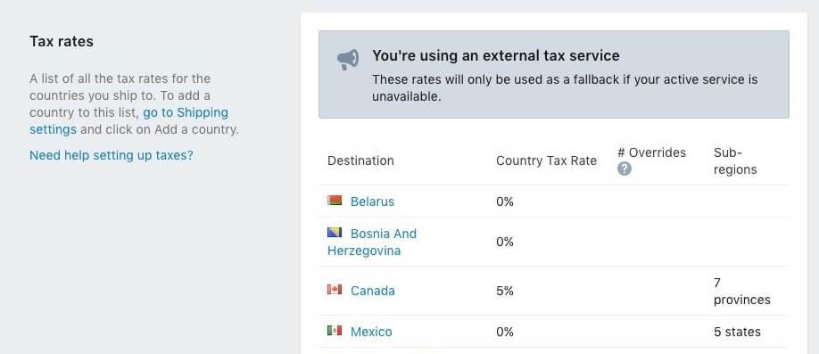 calcular impostos na loja Shopify