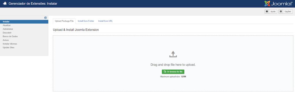 instalar extensões no Joomla