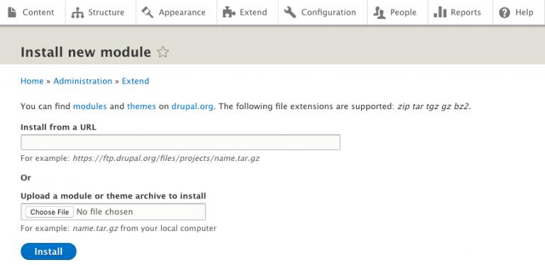 instalando módulos no Drupal