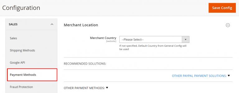 painel de controle com formas de pagamento pelo Magento