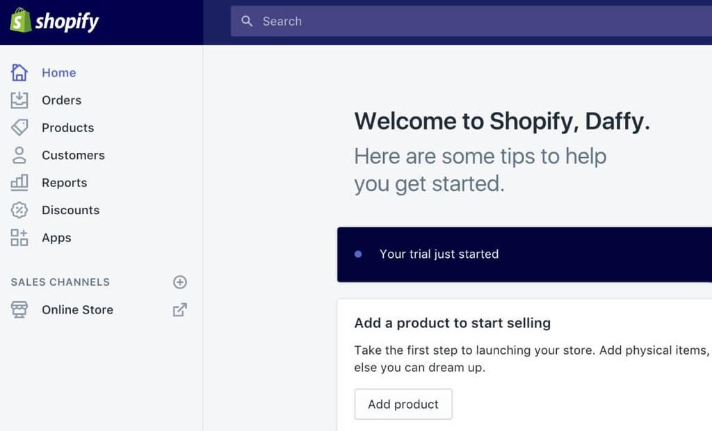 painel de controle shopify