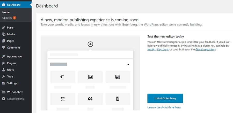 painel de controle do WordPress