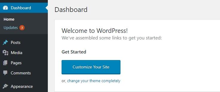 painel de controle wordpress.org