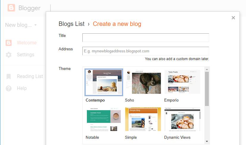opções de personalização no blogger