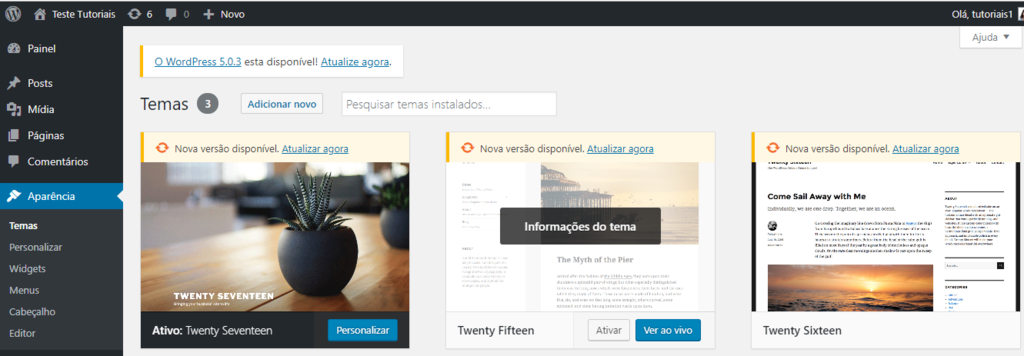 Menu instalar temas no WordPress