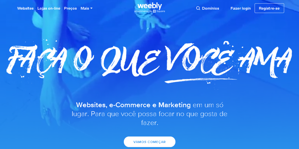 tela inicial do CMS Weebly