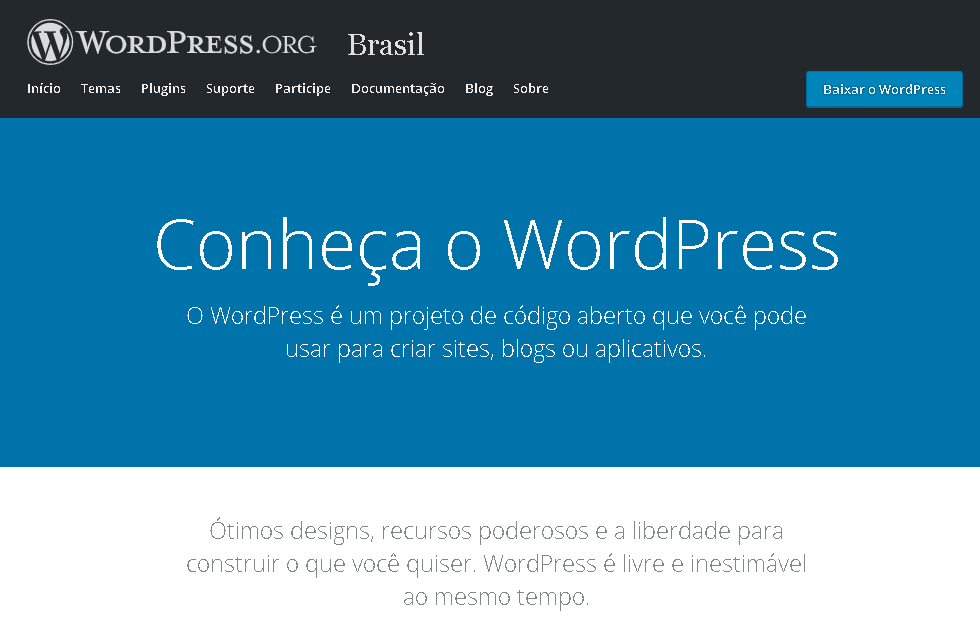 página inicial wordpress.org