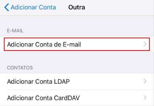 adicionar conta de email no iphone usando outro provedor