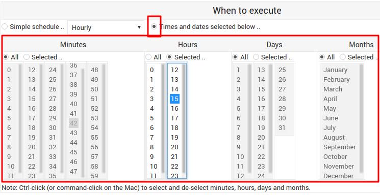 agendar períodos de cron jobs no webmin