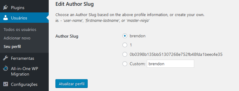 alterar slug da pagina de autores no wordpress
