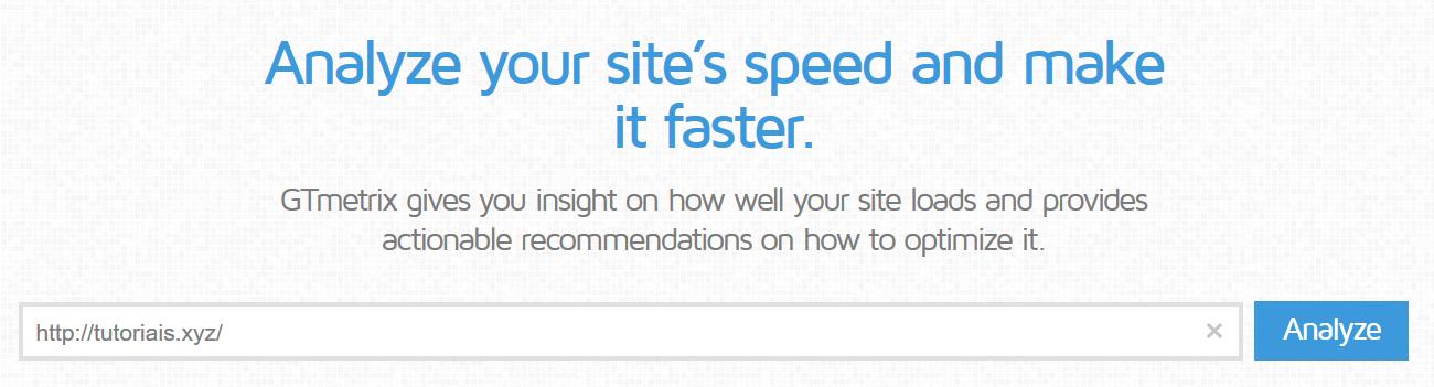 analisar velocidade de carregamento de site com gtmetrix