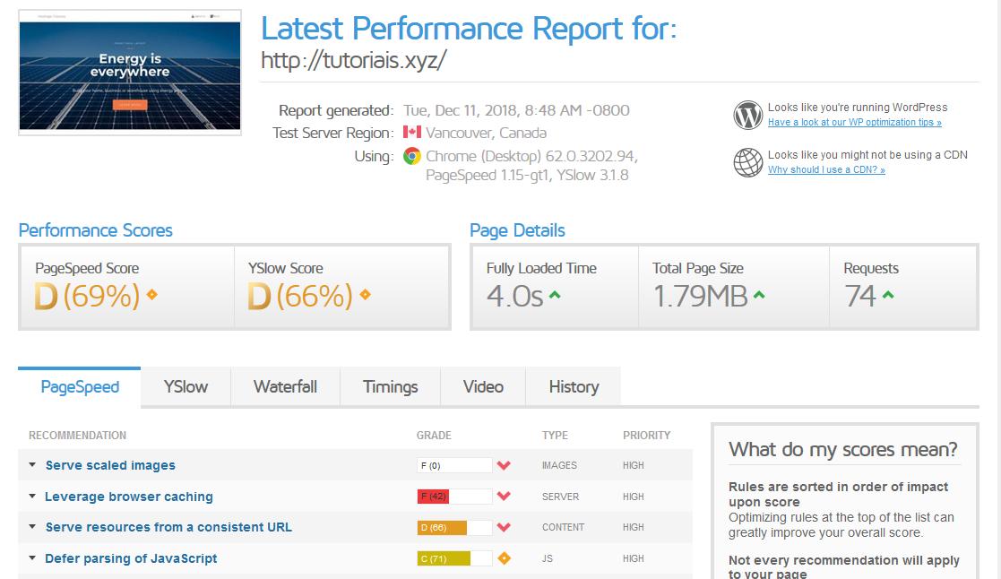 tela de resultados do teste de velocidade de site