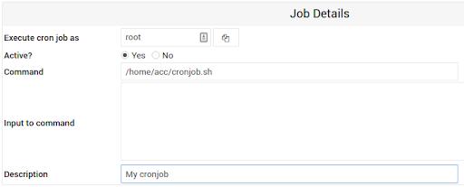 configuração de cron jobs no webmin