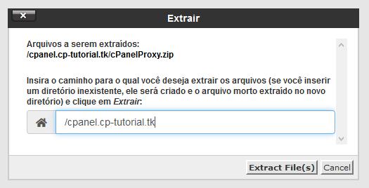 confirmação de extração do proxy cpanel