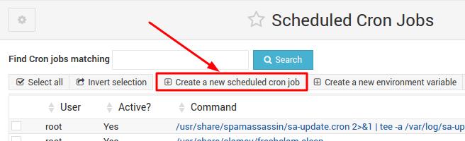 criar nova cron job no webmin