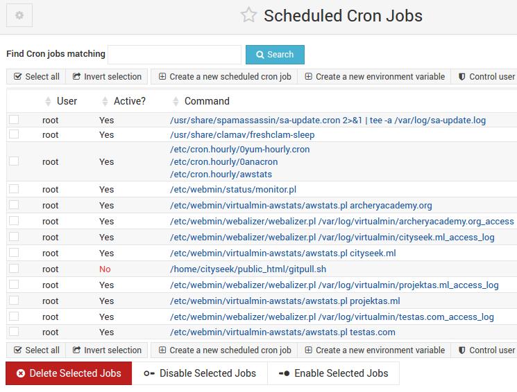 agendamento de cron jobs