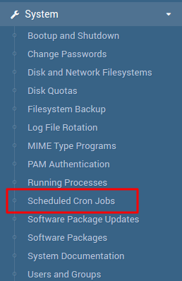 cron jobs no webmin
